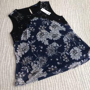 NWT APT 9 Women's Sleeveless Shirt size Large Navy